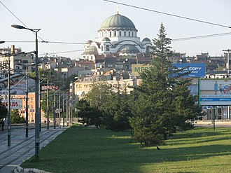 Vračar - Cathedral of Saint Sava in mid-August 2008