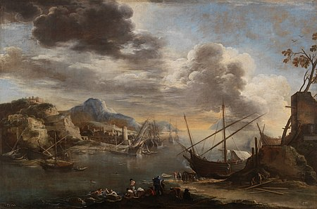 View of the Gulf of Salerno (Salvator Rosa oil on canvas, c. 1640, Prado Museum, Madrid). Salvator Rosa - View of the Gulf of Salerno - WGA20061.jpg