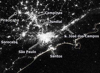 São Paulo Macrometropolis - Satellite imagery of the Expanded Metropolitan Complex at night.
