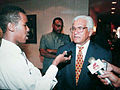 Sampson Nanton interviews former Prime Minister of the Republic of Trinidad and Tobago, Basdeo Panday in 1997.jpg