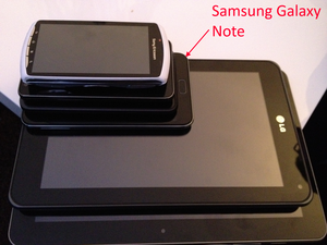 Samsung Galaxy Note (original) - A screenshot annotated on a Galaxy Note, showing a picture comparing the Galaxy Note's size with other smartphones and tablets (Order from top to bottom: Sony Ericsson Xperia Play, Samsung Galaxy S II, HTC Titan, the Samsung Galaxy Note itself, LG Optimus Pad, and Samsung Galaxy Tab 10.1).