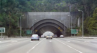 Yerba Buena Tunnel - Eastern portal of the Yerba Buena Tunnel, upper deck. Pictured in December 1994.