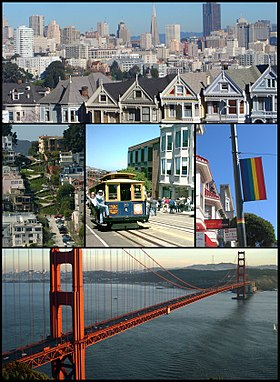 Von oben aus, links nach rechts: Die Painted Ladies und im Hintergrund der Financial District, die Lombard Street, ein Cable Car, der Castro District, die Golden Gate Bridge