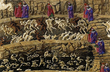Botticelli's illustration of Dante's Inferno shows insincere flatterers grovelling in excrement in the second pit of the eighth circle. Sandro Botticelli - Inferno, Canto XVIII - WGA02854.jpg