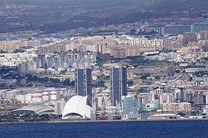 Auditorio de Tenerife - Tenerife Auditorium and Torres de Santa Cruz seen from the sea.