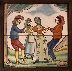Ceramic tile / people dancing Sardana