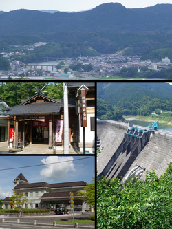 Clockwise from top: View of Central Satsuma Town from Tsuruta area, Tsuruta Dam, Miyanojyo Railroad Museum, Shibi Public Spa