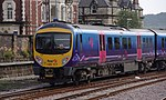 First TransPennine Express Desiro DMU 185117 departs Scarborough railway station with a service to Liverpool in 2011