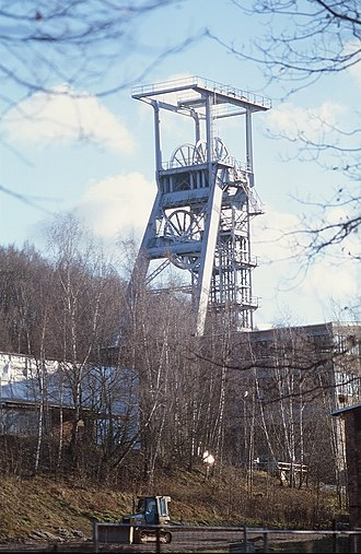 Wismut (mining company) - Shaft 371 in Hartenstein (Ore Mountains), former main shaft on the Niederschlema-Alberoda deposit
