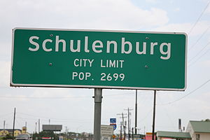 City proper -  The city proper starts and ends at the city limits, as seen with this sign for Schulenburg, Texas.
