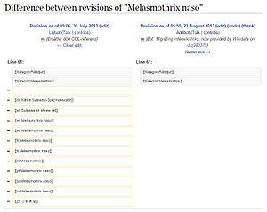 Interwiki links - Screenshot showing interwiki link removal