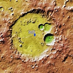 Secchi (Martian crater) - Location of Secchi Crater