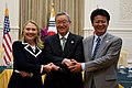 Secretary Clinton with Korean Foreign Minister Kim and Japanese Foreign Minister Gemba (7556537596).jpg