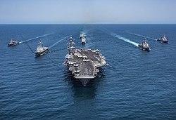 Sejong the Great (DDG 991), Yang Manchun (DDH 973), USS Wayne E. Meyer (DDG 108), USS Michael Murphy (DDG 112), USS Stethem (DDG 63), USS Lake Champlain (CG 57) and Nimitz-class aircraft carrier USS Carl Vinson (CVN 70) (34389374276)