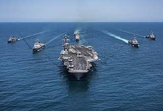 2018 North Korea–United States Singapore Summit - USS Carl Vinson carrier strike group and South Korean Navy vessels having a joint exercise on May 3, 2017