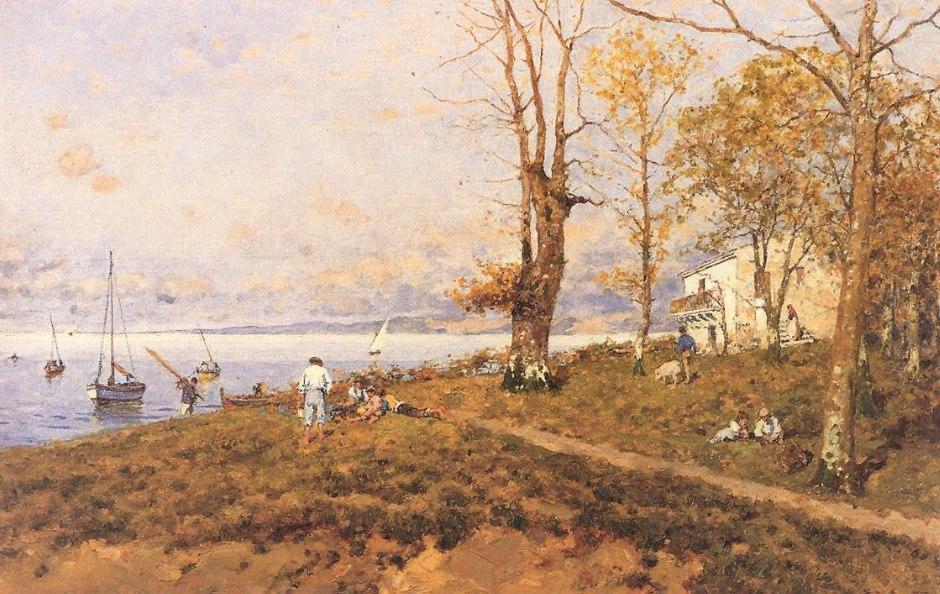 Serafín Avendaño 1838-1916, Paisaje con casas y barcos 1907
