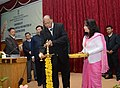 Sharad Pawar lighting the lamp to inaugurate the Conference of Agriculture and Horticulture Ministers of North Eastern States, at Gangtok on November 28, 2013. The Chief Minister of Sikkim, Shri Pawan Chamling is also seen.jpg