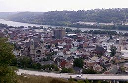 The borough of Sharpsburg(Route 28 is pictured in the foreground; the Allegheny River is in the background)