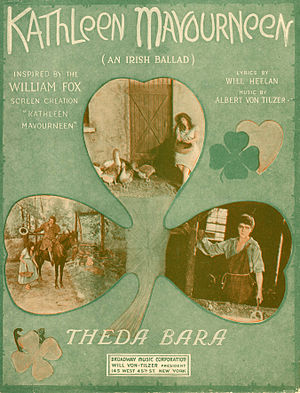 Kathleen Mavourneen - Sheet music cover inspired by the 1919 film