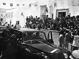 Zayed bin Sultan Al Nahyan - Sheikh Zayed salutes Tunisian crowd during his visit to Kairouan City in the mid-70s
