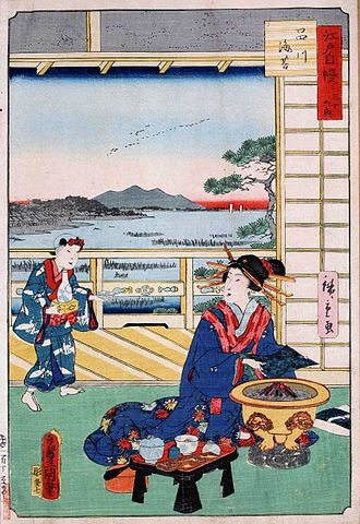 Nori - Toasting a sheet of nori. 1864