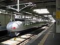 Shinkansen 0 series in Cool Green Kodama livery at Hiroshima Station.jpg
