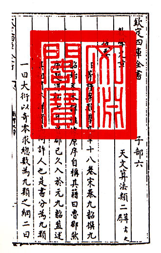 Mathematical Treatise in Nine Sections - Mathematical Treatise in Nine Sections in The Siku Quanshu