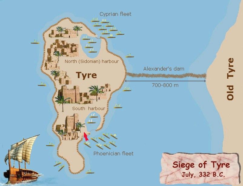 Siege of Tyre 332BC plan
