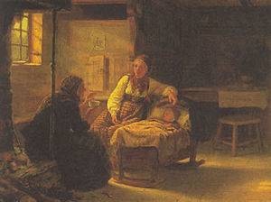 Cyprianus - En Signekjerring, an 1848 painting by Adolph Tidemand.  The elderly woman is performing the støyping divination ritual to seek the cause of the child's illness.