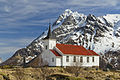 Sildpollnes Church and Higravstindan in morning, Austvågøya, Lofoten, Norway, 2015 April.jpg