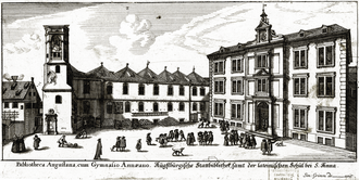 Gymnasium bei St. Anna - The school (right) and town library in Simon Grimm's etching of 1676