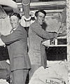 Sir Edmund Hillary and J.H. Miller in a cabin on the HMNZS Endeavour, 1956.jpg