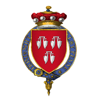 Coat of arms, with a red shield and a blue crown