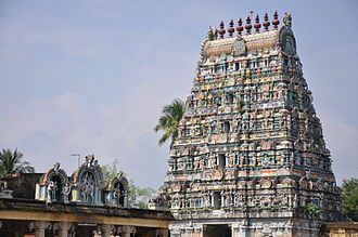 Sirkazhi - A view of temple tower of Sattainathar Temple located in the centre of the town