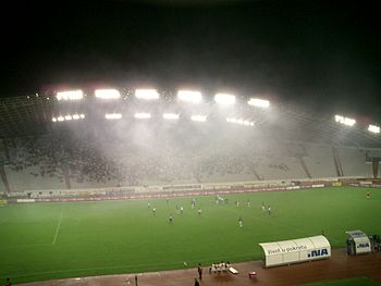 Smoke in the stadium of Hajduk Split