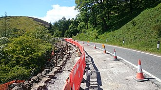 Snake Pass - Repair work to one of the highway's retaining walls, June 2015