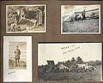 "Snapshots of men and aircraft at Camp Mohawk, one of the Royal Flying Corps' pilot training camps near Deseronto, Ontario. Includes one of a man- ""Moody"". The crashed aircraft in the lower right (6079348367).jpg"
