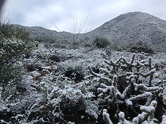 Fountain Hills, Arizona - Snow falls about once every other year on the McDowell Mountains