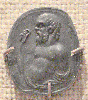 Daemon (classical mythology) - Carnelian gem imprint representing Socrates, Rome, first century BC - first century AD.