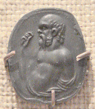 Daemon (classical mythology) - Carnelian gem imprint representing Socrates, Rome, first century BC – first century AD.