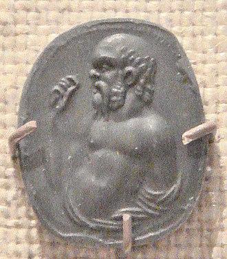 Socrates - Carnelian gem imprint representing Socrates, Rome, 1st century BC-1st century AD.