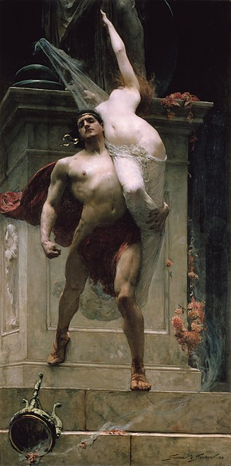 Ajax the Lesser - Ajax and Cassandra by Solomon J. Solomon (1886).  In the collection of the Art Gallery of Ballarat in Victoria, Australia