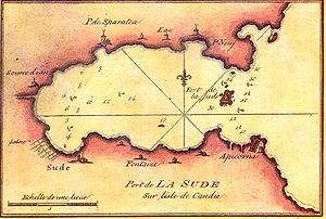 Souda Bay - French nautical chart of Souda Bay in the 18th century.