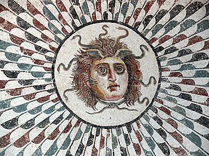 Medusa - The Medusa's head central to a mosaic floor in a tepidarium of the Roman era. Museum of Sousse, Tunisia