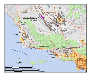 South Belridge Oil Field - The South Belridge Oil Field in Southern and Central California. Other oil fields are shown in gray.