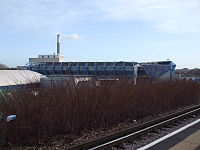 South Bermondsey stn look east to Millwall FC.JPG