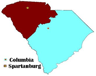 Barrett v. United States - Barrett was tried in Columbia, asserted to be in the Eastern District of South Carolina (in blue), for crimes committed in Spartanburg, asserted to be in the Western District of South Carolina (in red).