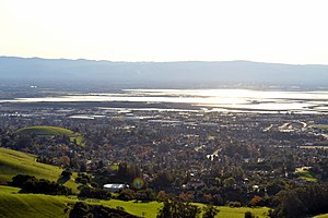 Santa Clara Valley - South San Francisco Bay viewed from Mission Peak  Regional Preserve in Fremont, California