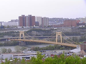 South Tenth Street Bridge - View of bridge and Duquesne University from the South