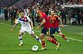 Spain - Chile - 10-09-2013 - Geneva - Eduardo Vargas, Ignacio Monreal and Andres Iniesta.jpg
